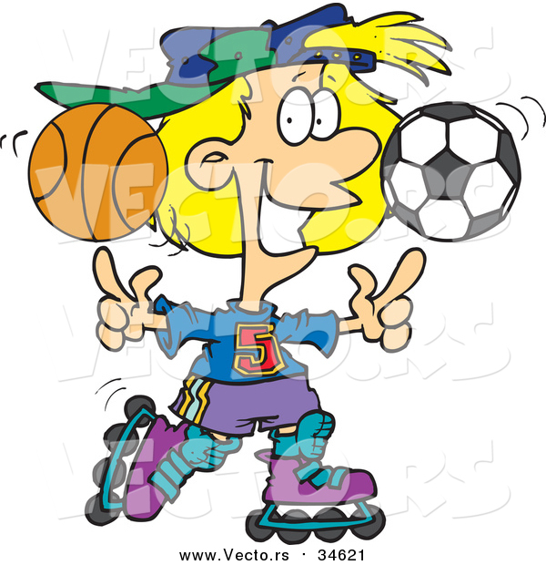 600x620 Vector Of A Sporty Girl Roller Blading With A Basketball