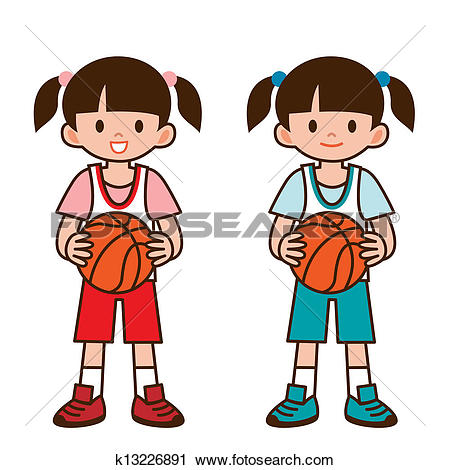 450x470 Clipart Of Girl Playing Basketball
