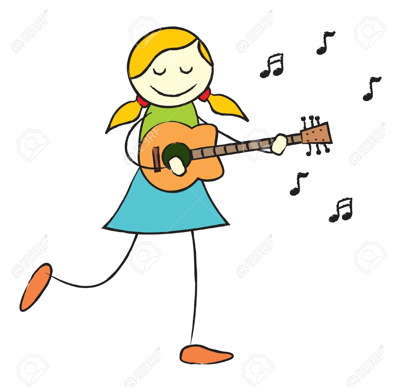Girl Playing Guitar Clipart