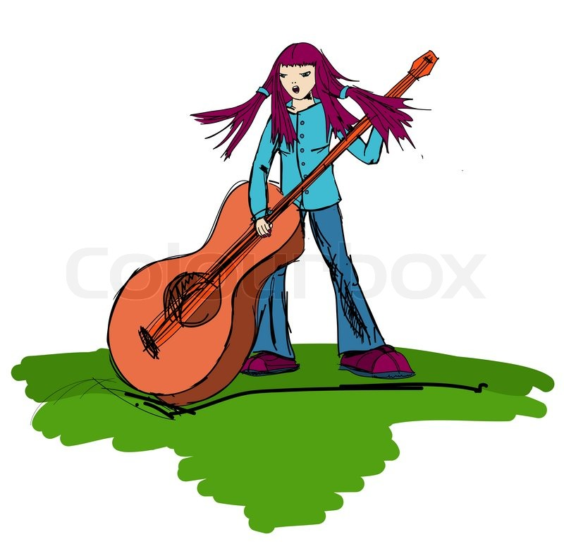 800x771 Hippie Girl Playing On A Big Guitar And Sings Stock Photo