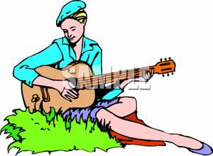 300x220 Woman Sitting In Grass Playing A Guitar