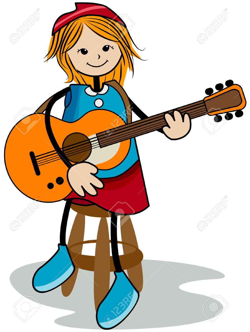979x1300 Girl With Guitar Clipart