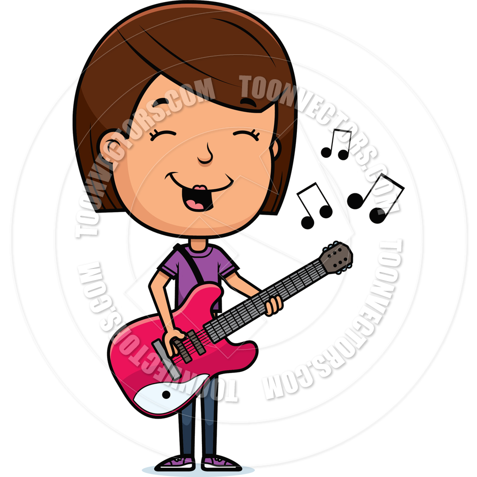 940x940 Cartoon Teen Girl Guitar By Cory Thoman Toon Vectors Eps