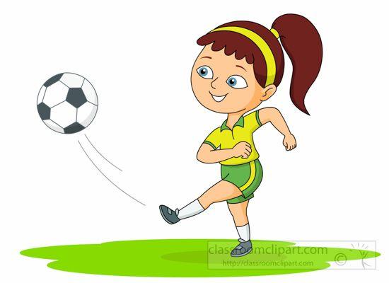 550x400 Soccer Clipart Girl Playing Soccer Kicks Ball Clipart 6212