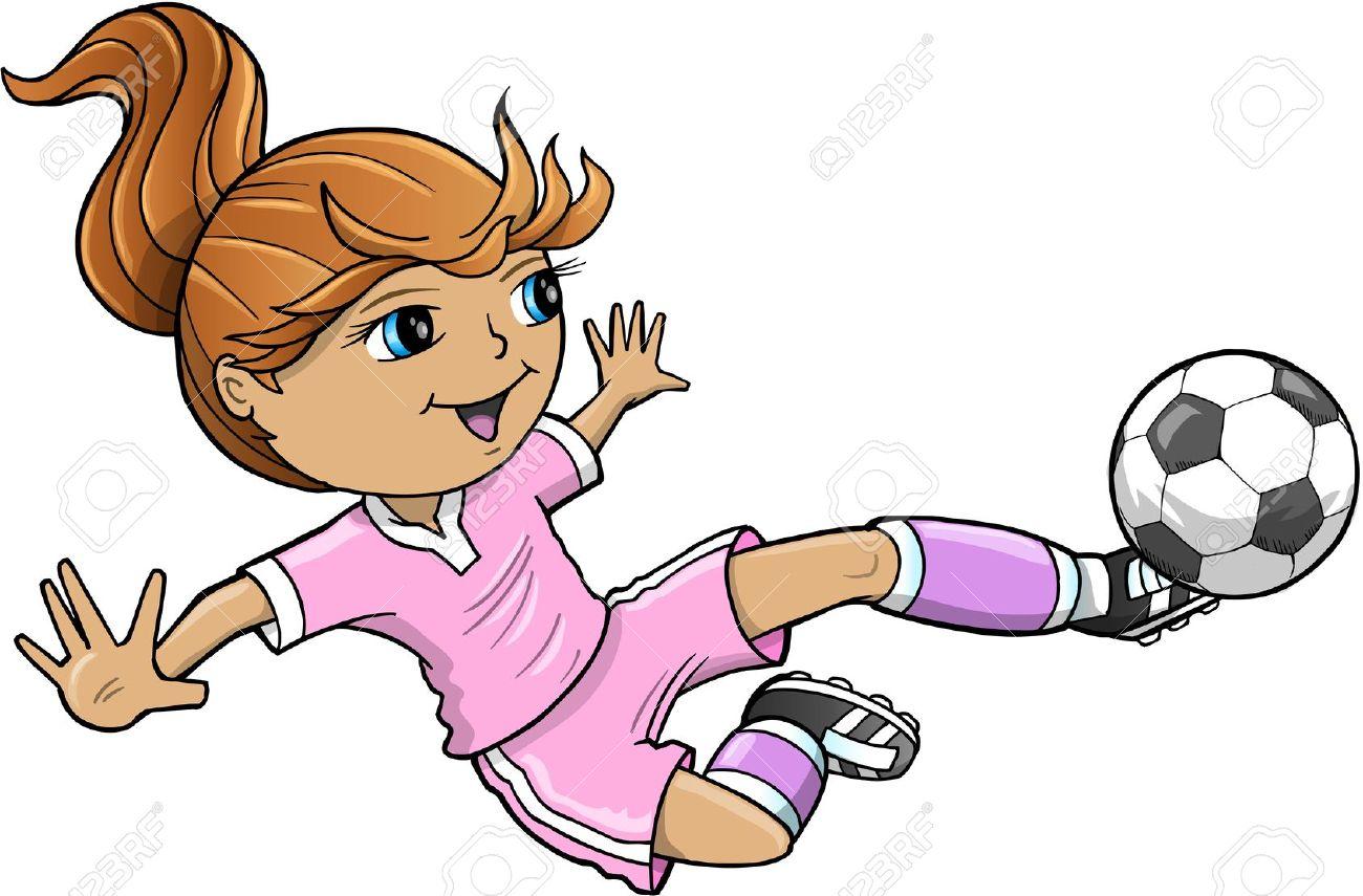 1300x855 Girl Soccer Clipart