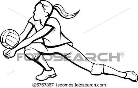 450x288 Clip Art Of Volleyball Dig Girl K26767867