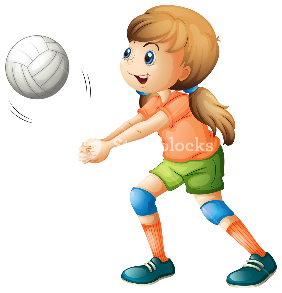 962x1000 Illustration Of A Smiling Girl Playing Volleyball On A White