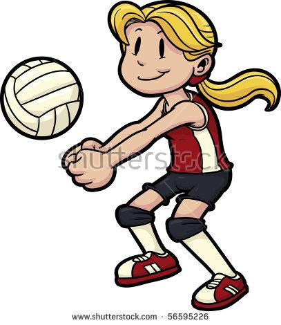 407x470 Little Girl Clipart Volleyball