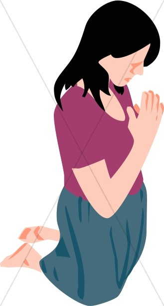 Girl Praying Clipart