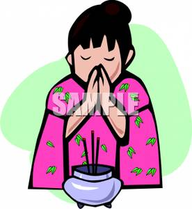 276x300 Asian Girl Praying Over Incense Clip Art Image