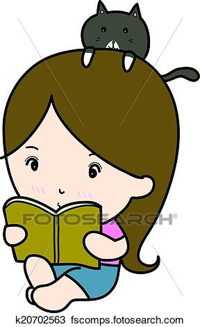 288x470 Clipart Of A Small Girl Reading Book Cartoon K20702563