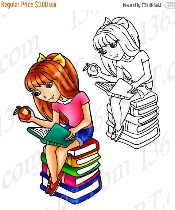 570x685 50% Off Clipart Girl Girl Clip Art Digital Stamp Coloring