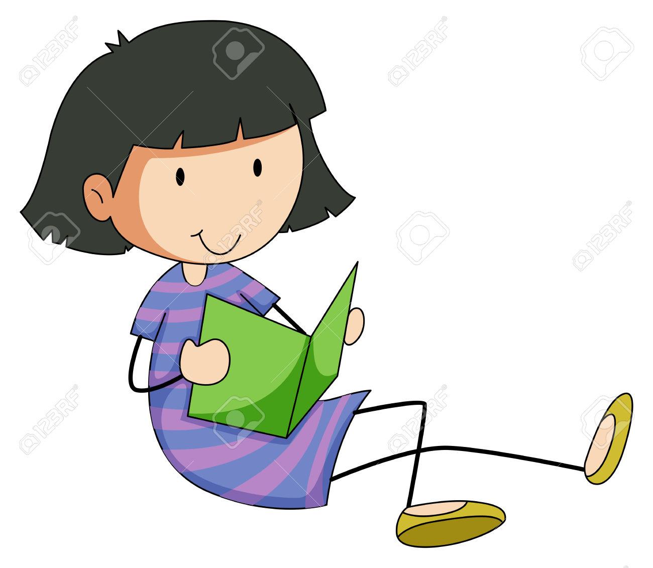 1300x1131 Little Girl Clipart Reading