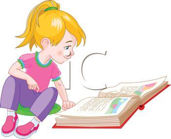 350x285 Little Girl Reading Clipart