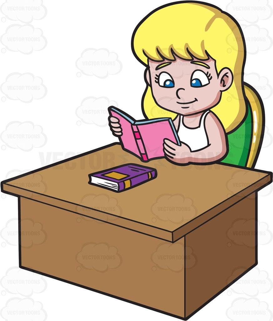 872x1024 A Girl Reading A Good Book Cartoon Clipart