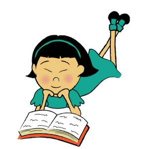 300x300 Girl Reading Clipart Image