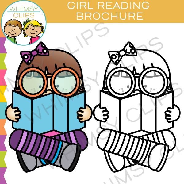 600x600 Girl Reading A Brochure Clip Art , Images Amp Illustrations Whimsy