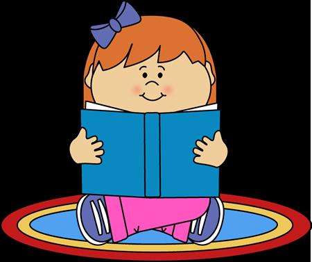 450x377 Girl Reading On A Rug Clip Art