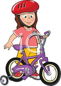 Girl Riding Bike Clipart