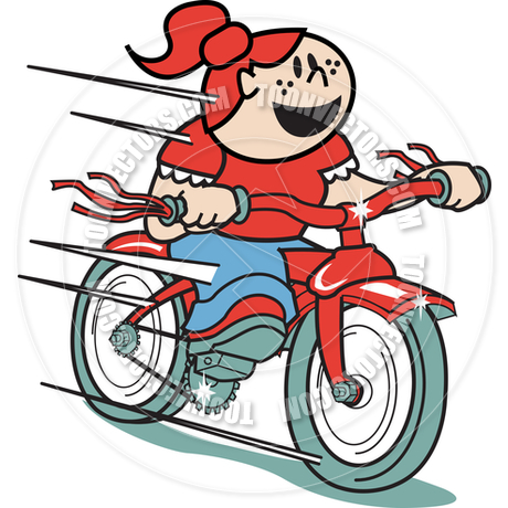 460x460 Cartoon Girl Riding Bike Vector Illustration By Clip Art Guy