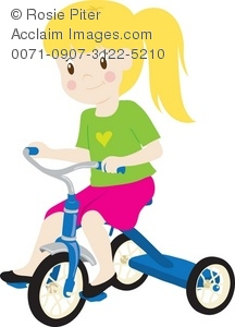 216x300 Clip Art Illustration Of A Little Girl Riding A Tricycle