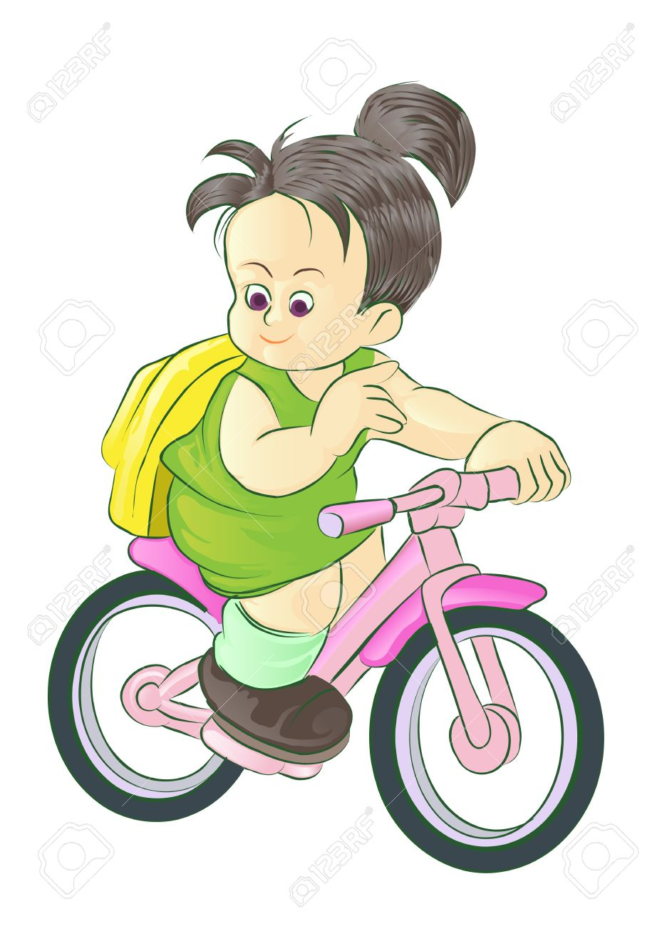 915x1300 Girl Riding Bike Go To School Royalty Free Cliparts, Vectors,