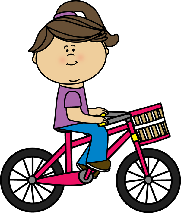 600x707 Girl Riding A Bicycle With A Basket Clip Art