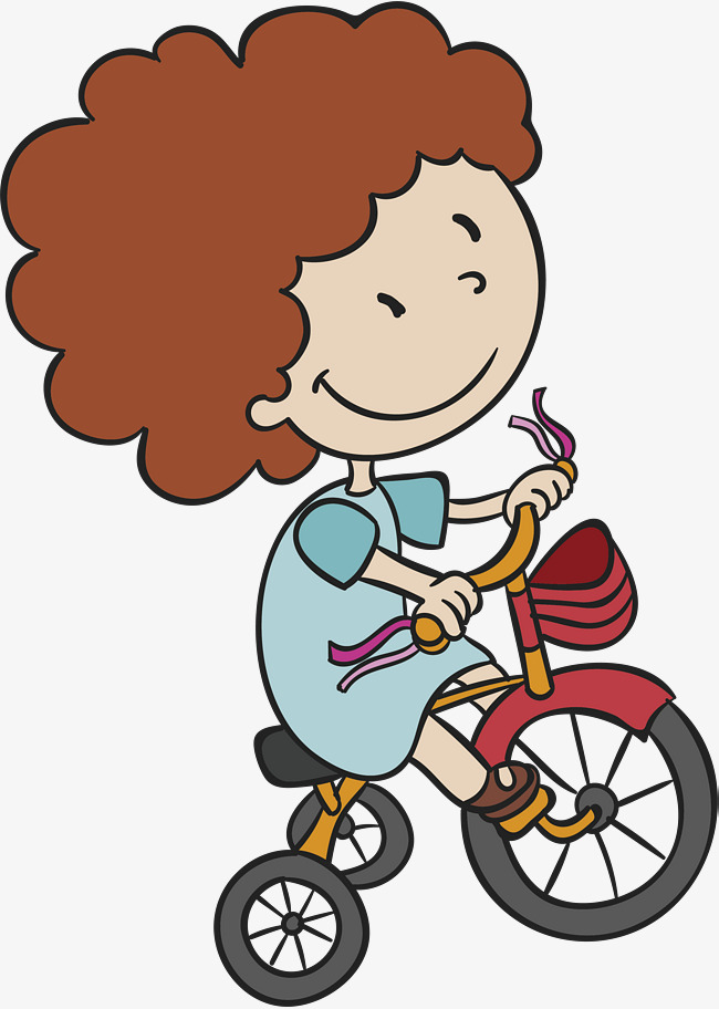 650x912 Girl Riding A Bike, Vector Png, Hand Painted Girl, Cartoon Girl