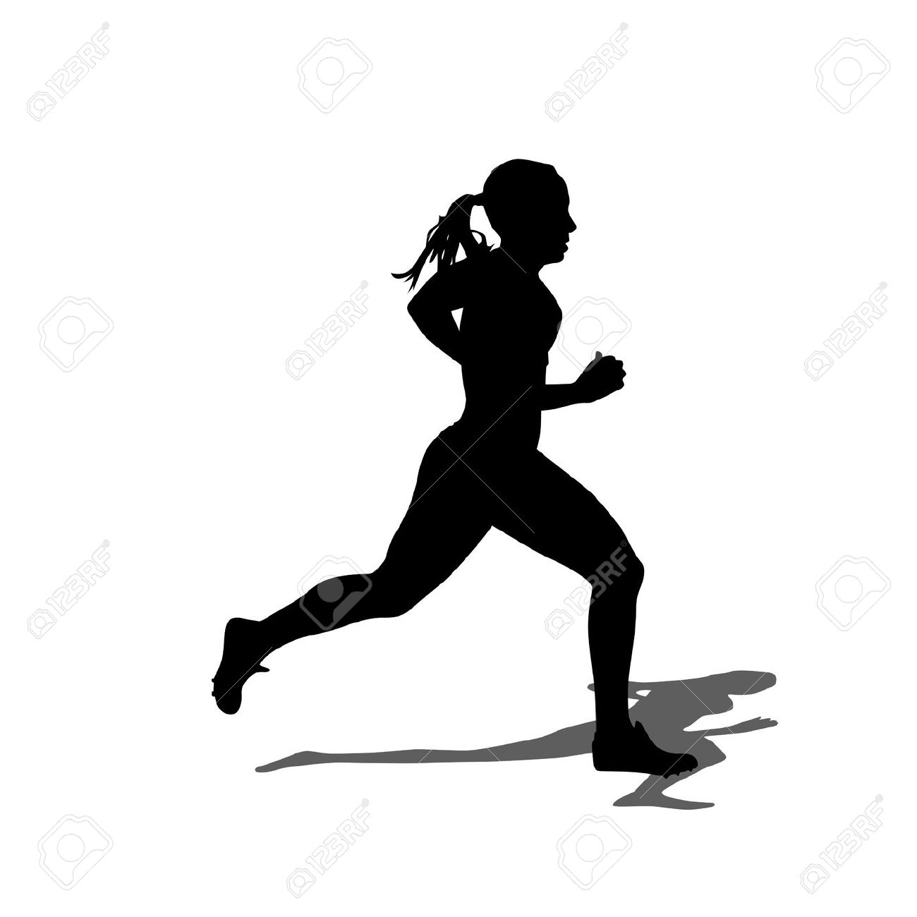 1300x1300 Woman Running Clipart Black And White