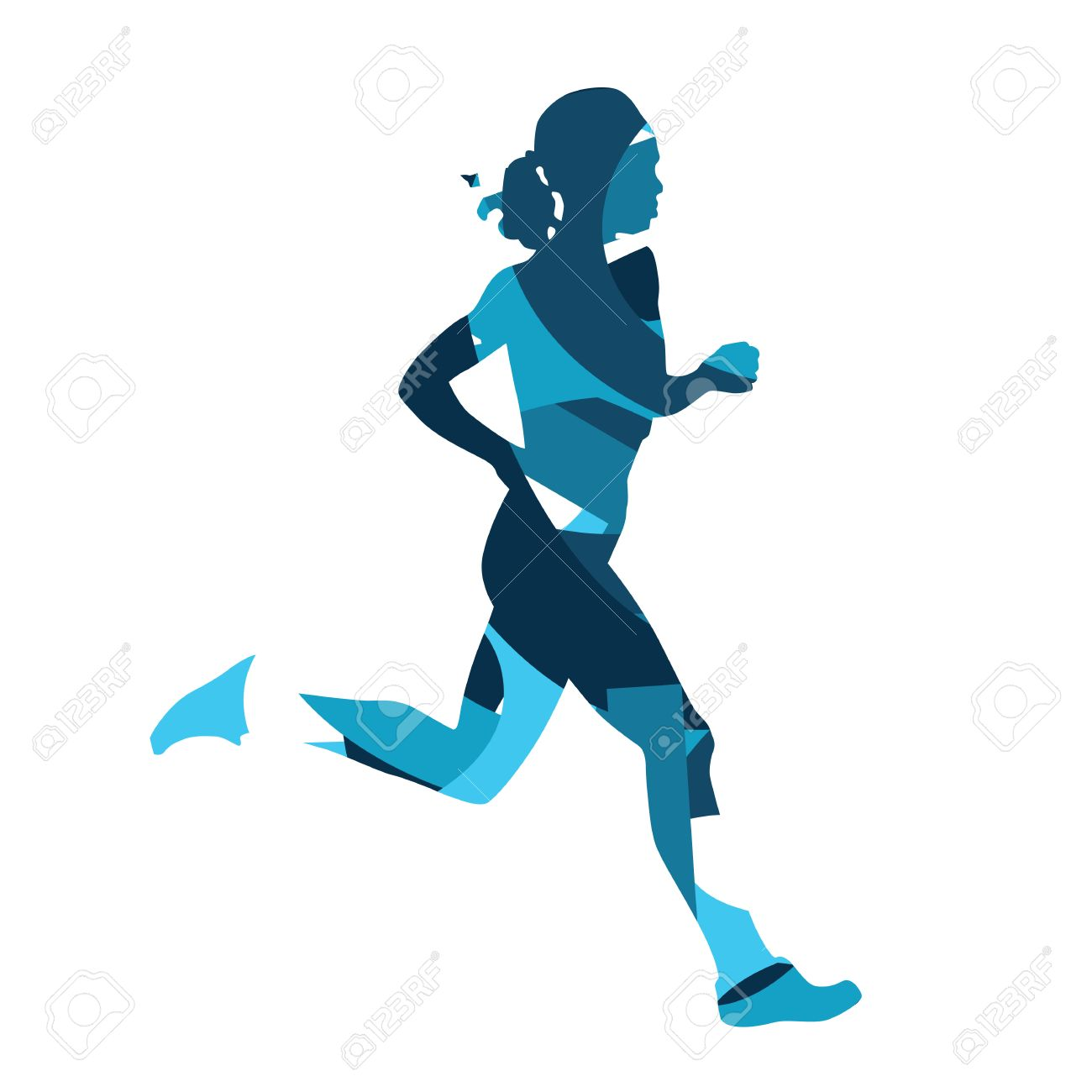 1300x1300 Runing Woman. Abstract Blue Silhouette Of Running Woman, Girl