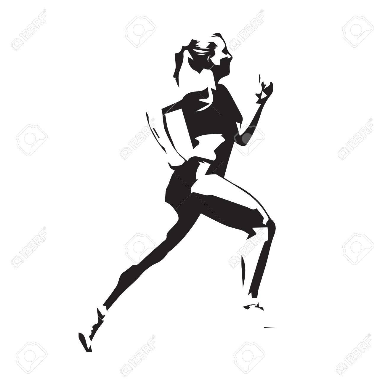 1300x1300 Running Woman Vector Illustration, Run Girl Silhouette Royalty