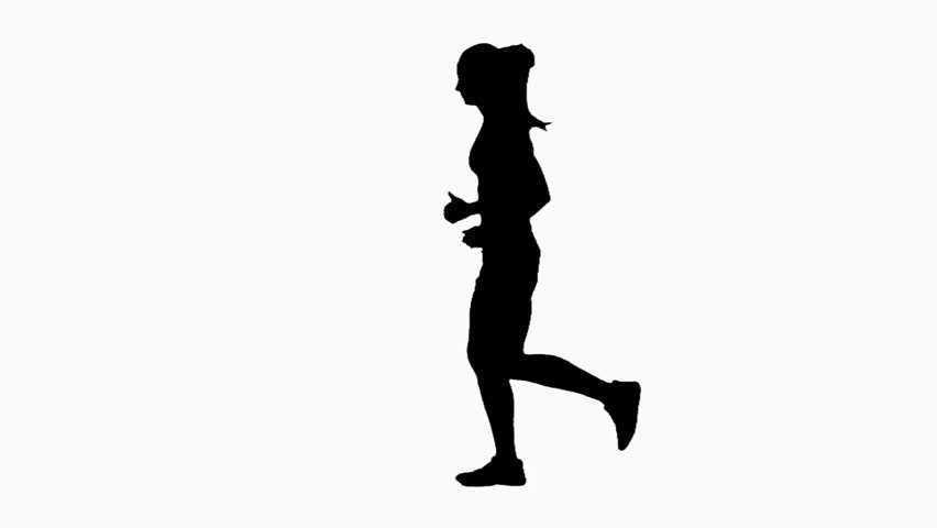852x480 Silhouette Running Girl. Silhouette. White Stock Footage Video