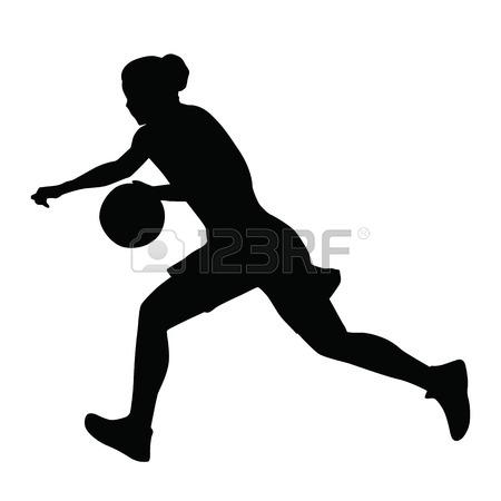 450x450 Basketball Player Vector Silhouette, Woman, Girl, Running