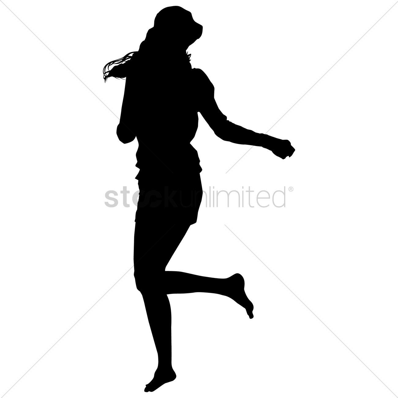 1300x1300 Silhouette Girl Running Vector Image