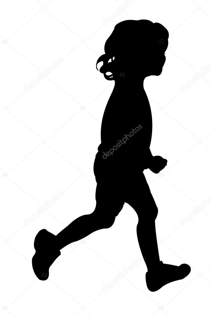 682x1023 Vector Silhouette Of A Girl While Running Stock Vector Dr.art
