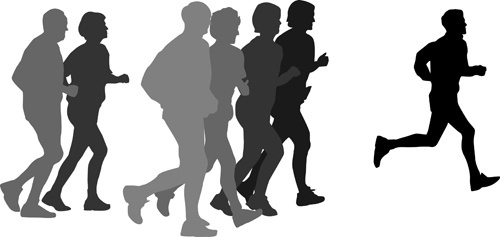 500x237 Woman Running Silhouette Free Vector Download (7,396 Free Vector
