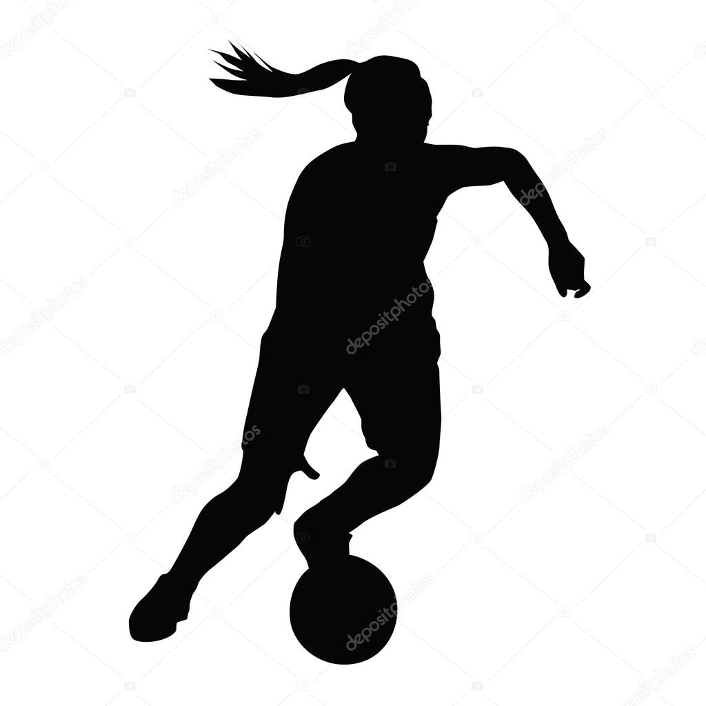 1024x1024 Basketball Player Vector Silhouette, Woman, Girl, Running With B