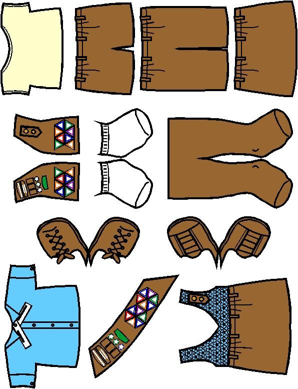 596x777 Brownie Paper Doll Friends Black White Uniform