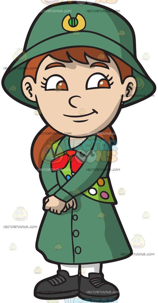 536x1024 A Pretty Girl Scout Cartoon Clipart