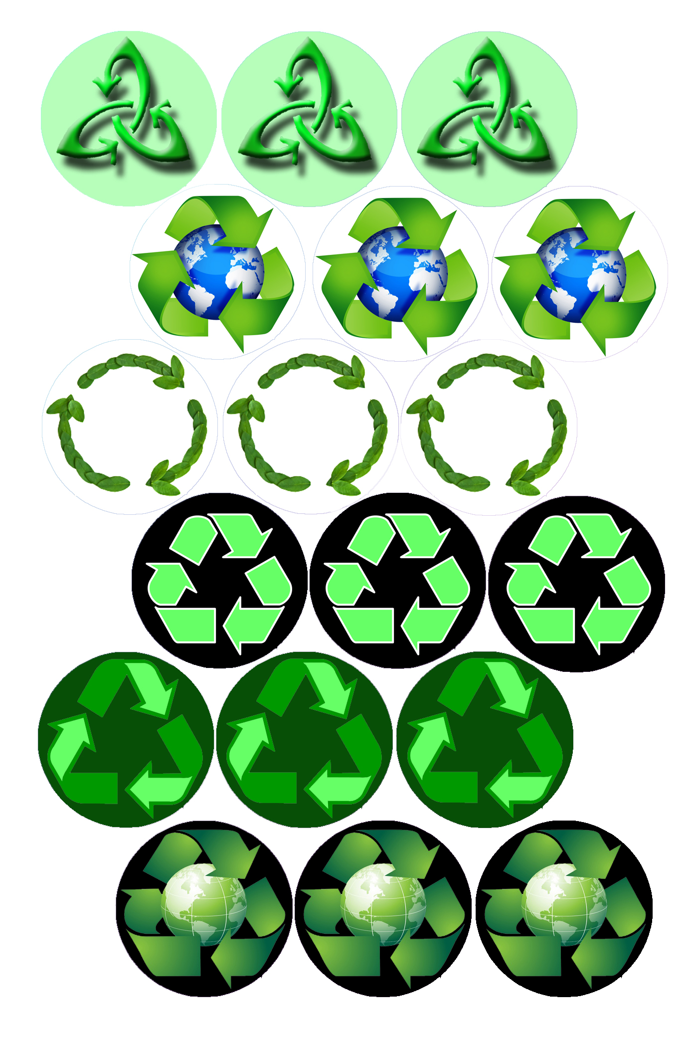 1404x2105 Recycle Symbols Bottle Cap Image Pack Formatted For Printing On 4