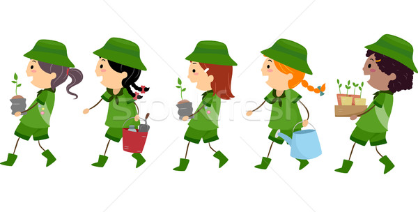 600x304 Stickman Girl Scout Tree Planting Vector Illustration Lenm