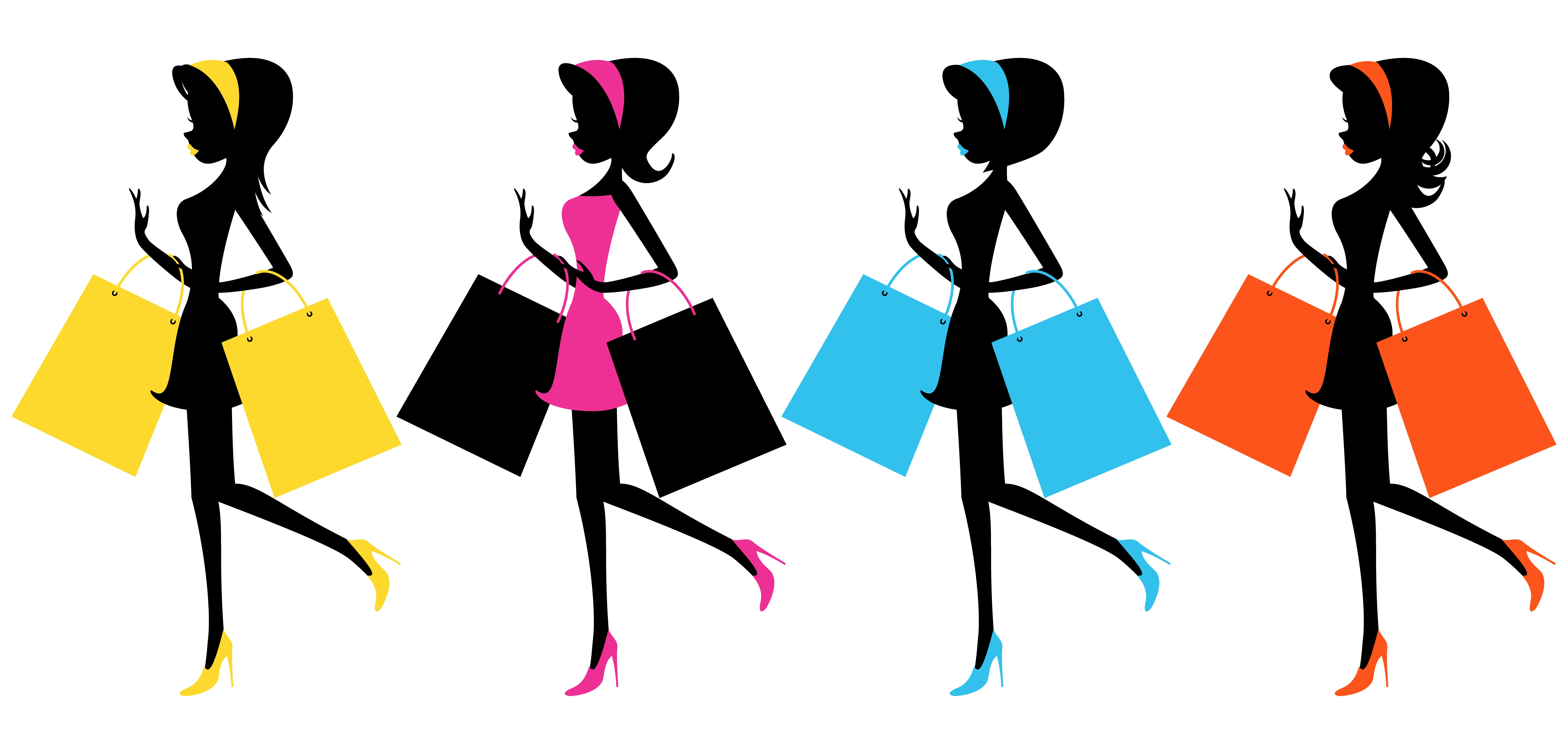 6250x3000 Girl With Shopping Bags Clipart Clip Art Library