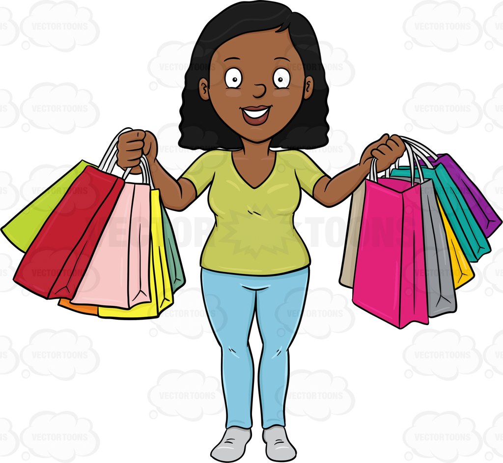 Girl Shopping Clipart