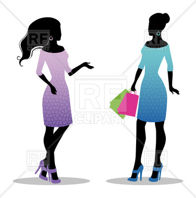 396x400 Silhouette Of Girls In Beautiful Dresses With Shopping Bags