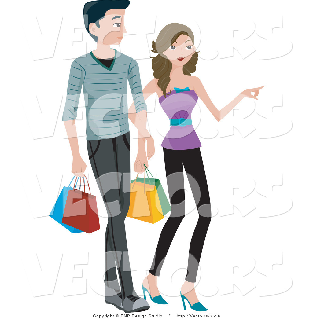 1024x1044 Vector Of Young Boy And Girl Shopping With Bags By Bnp Design