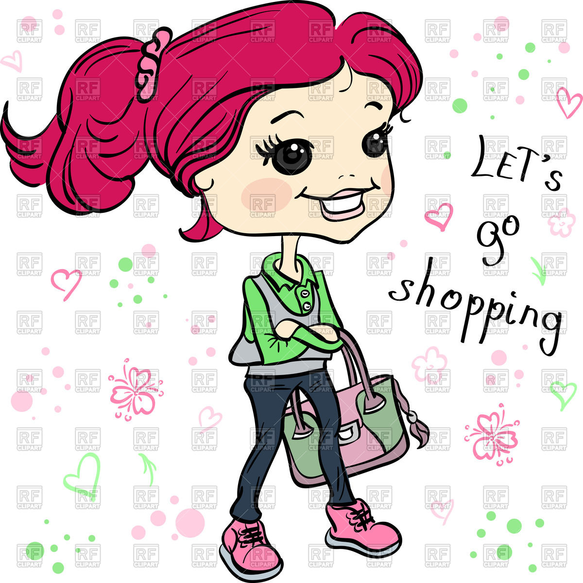 1200x1200 Cartoon Hipster Girl With Bag Going For Shopping Royalty Free