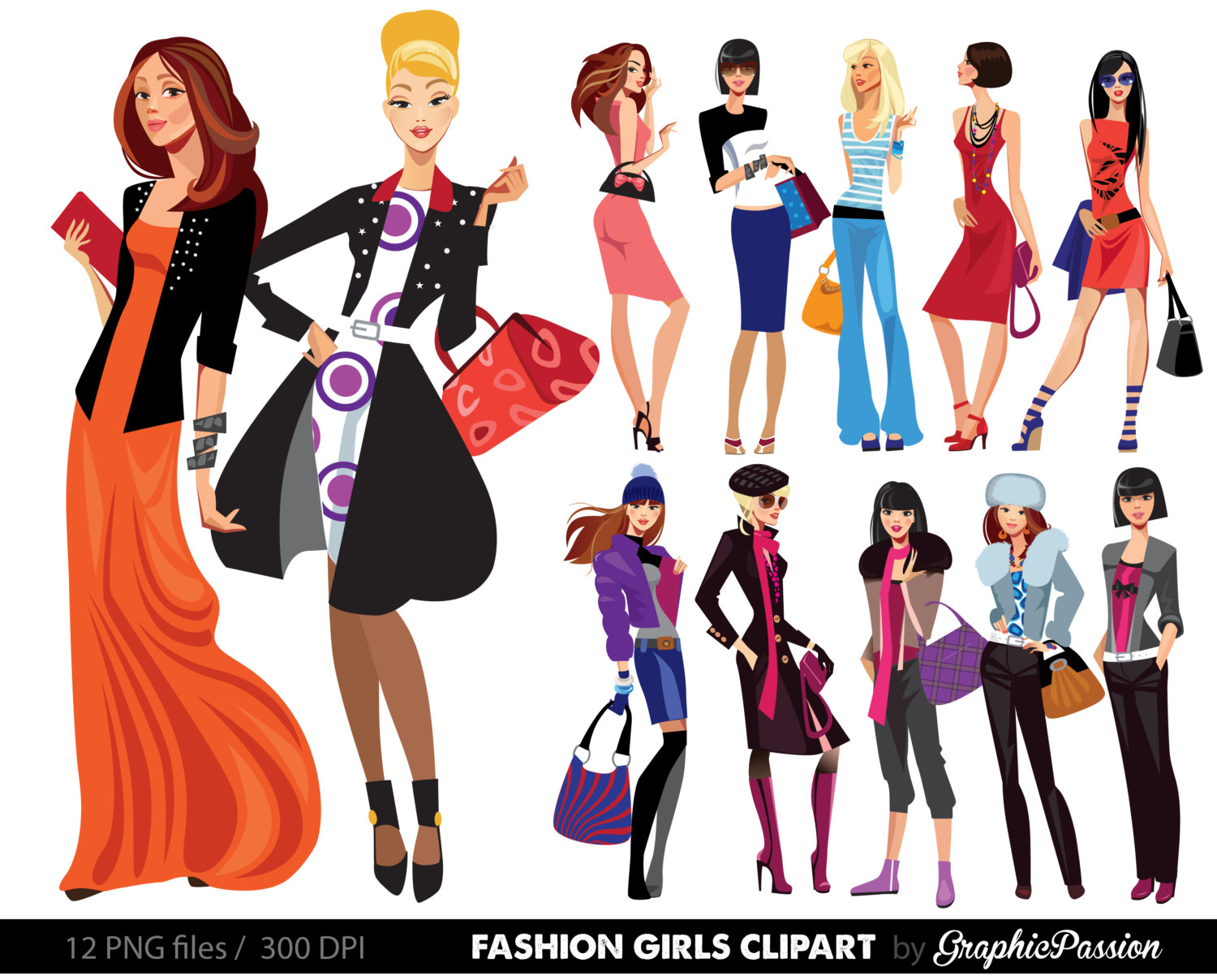 1500x1208 Fashion Lady Clip Art Fashion Girl Digital Shopping Ladies