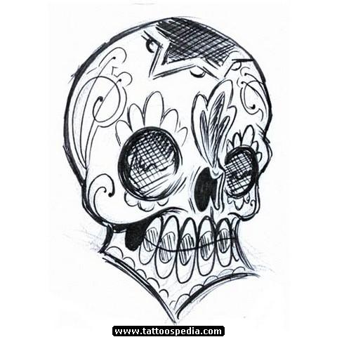 480x480 Drawn Sugar Skull Gangsta