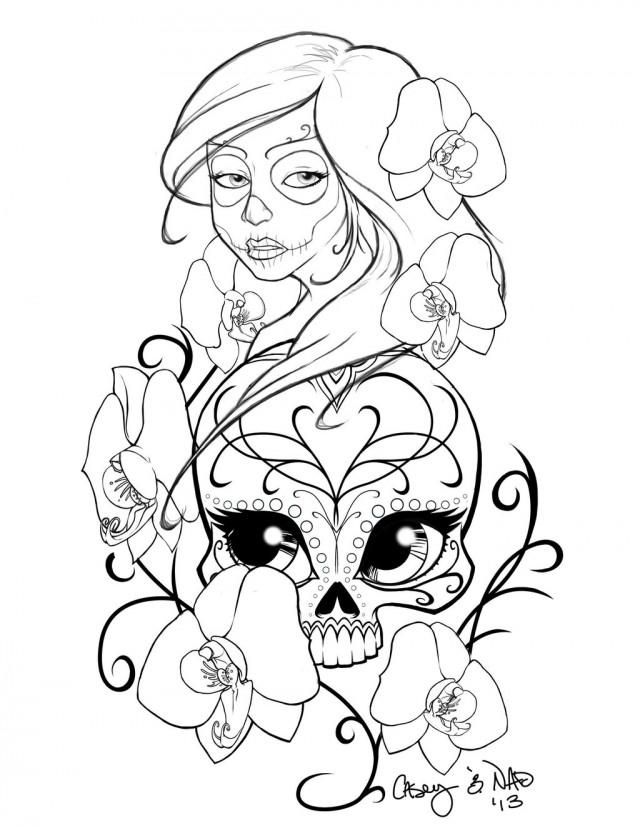 640x828 New Sugar Skull Drawing And Coloring 211158 Sugar Skull Coloring