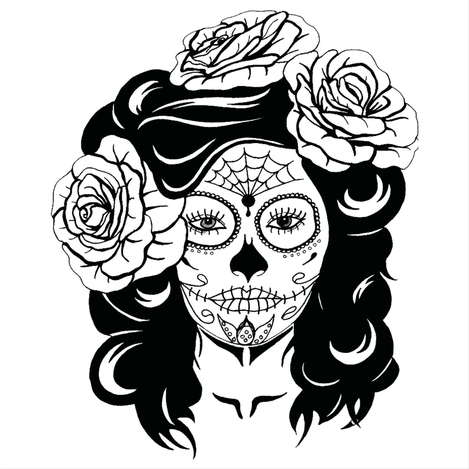 1899x1899 Sugar Skull Girl By 49 Exciting Tattoo Outline Designs Sugar Skull